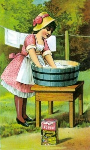 Girl at washing tub