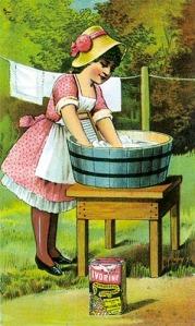 Girl at washing tub