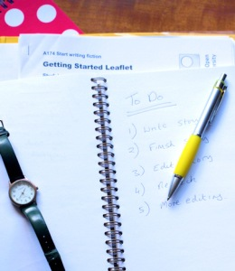 Photo of pink spotted notepad, notes on writing - Ruth Livingstone