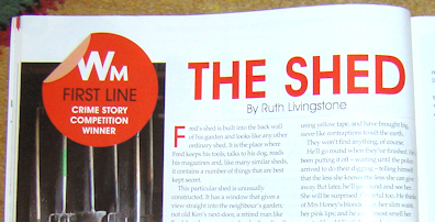 The Shed, Ruth Livingstone wins Crime Fiction prize in Writing Magazine 2012