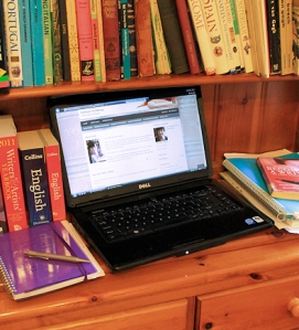 Blogging at a desk - Why all writers should have blogs, Ruth Livingstone