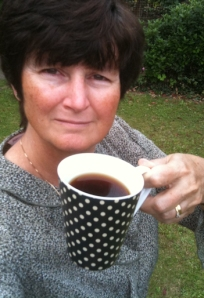 Ruth Livingstone, drinking coffee