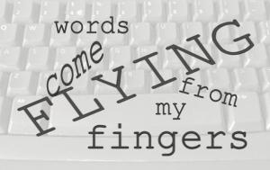 keyboard - flying -words, Ruth Livingstone
